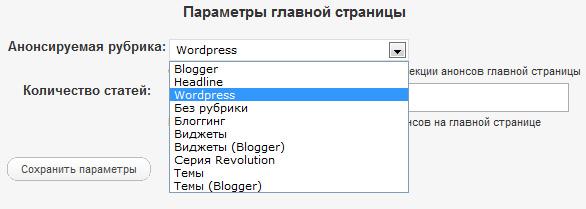 Параметры главной страницы Revolution Streamline